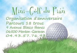 Carte de visite du Mini Golf à Menton